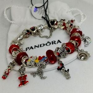 Pandora Bracelet w/ Red Disney Charms